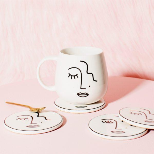 Abstract Face Porcelain Mug