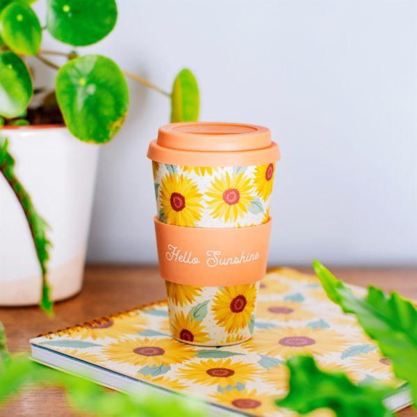 Sunflowers Print Bamboo Coffee Cup