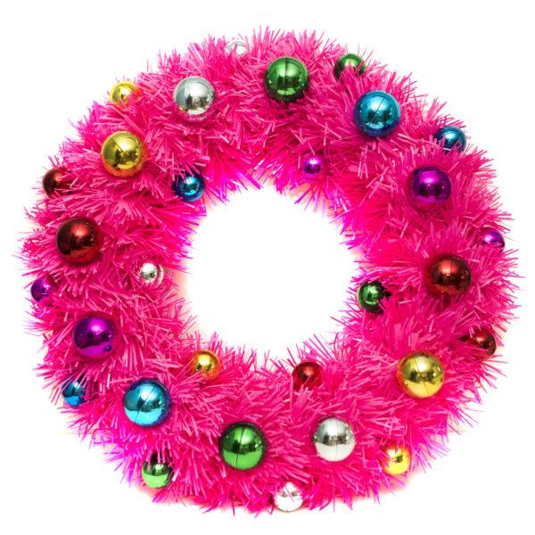Pink Tinsel Door Wreath with Baubles