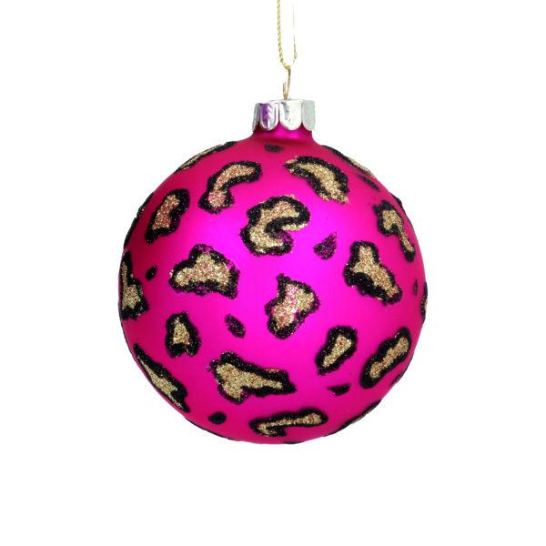 Pink Leopard Print Glass Christmas Tree Bauble