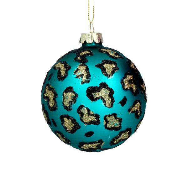 Turquoise Leopard Print Glass Christmas Tree Bauble