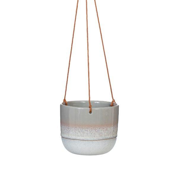 Mojave Dip Glaze Ombre Brown Hanging Planter