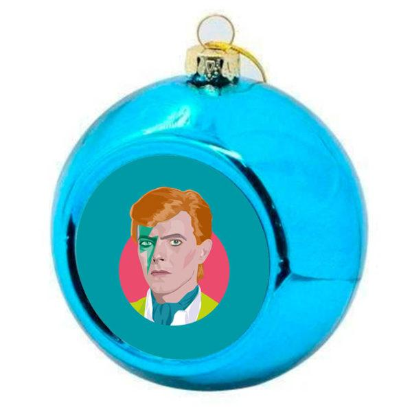 David Bowie Christmas Bauble -  Blue