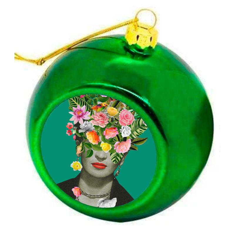 Frida Floral Christmas Bauble -  Green