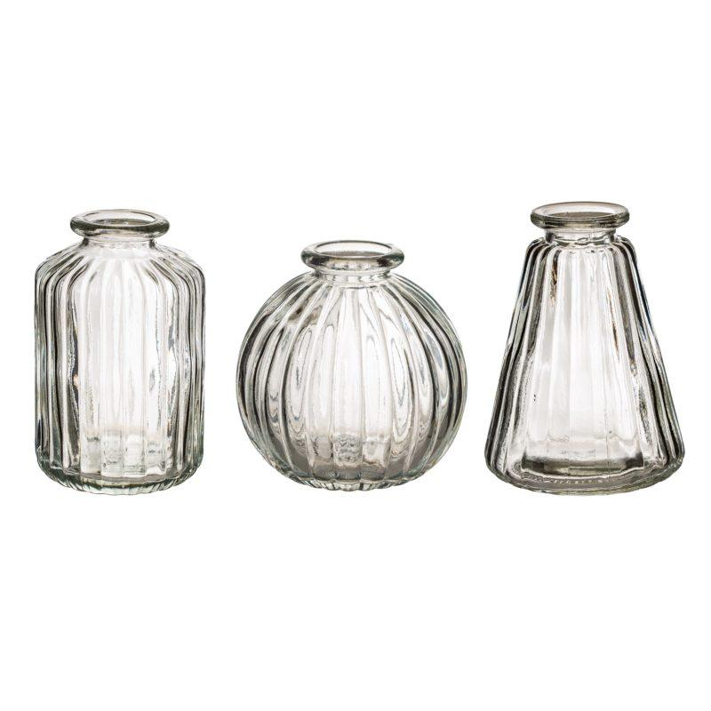 Grey Glass Bud Vases Set of 3