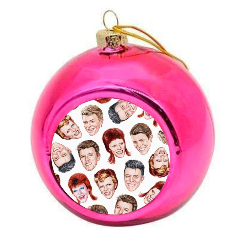 David Bowie Faces Christmas Bauble -  Pink