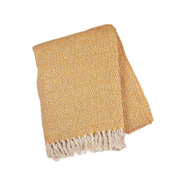 Scandi Boho Mustard Throw