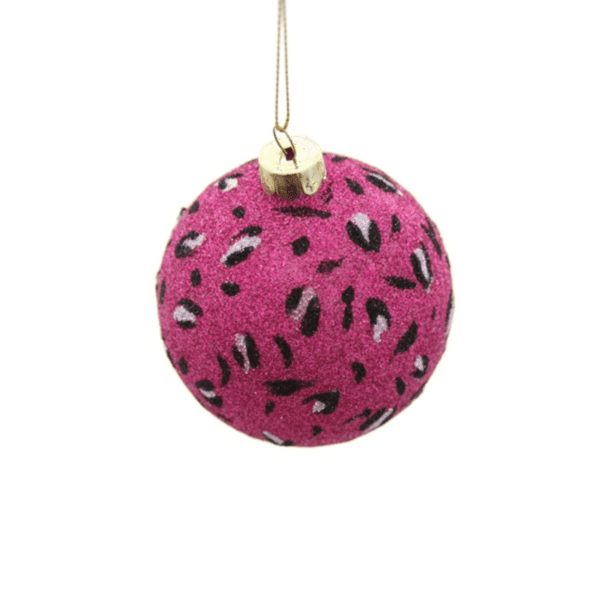 Pink Leopard Print Bauble Set of 2