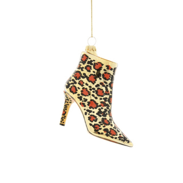 Leopard Print Stiletto Boot Christmas Decoration