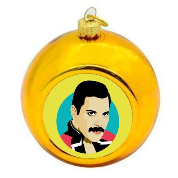 Freddie Mercury Christmas Bauble - Gold