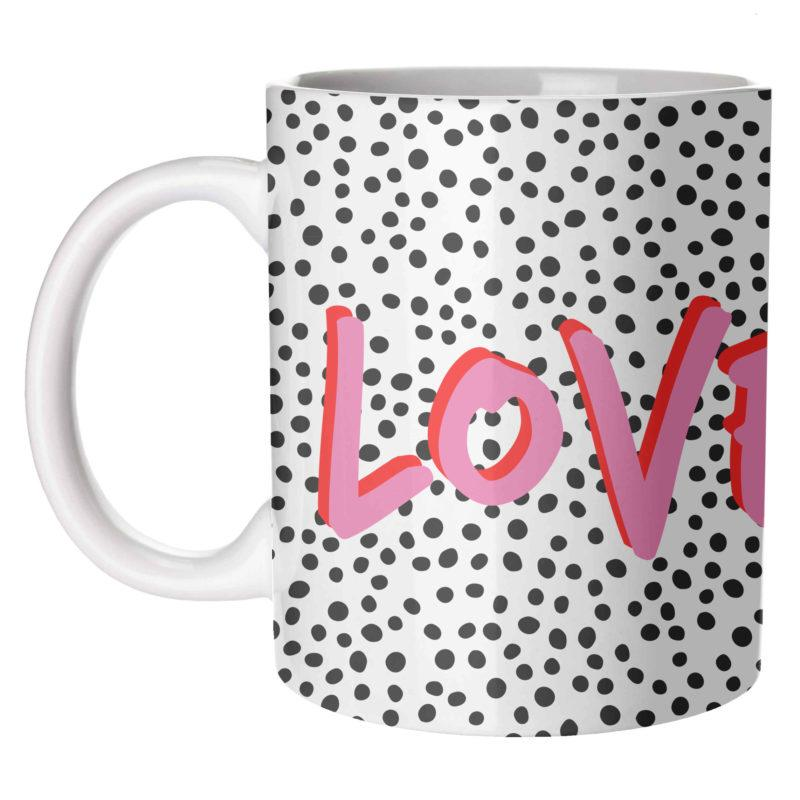 Love Polka Dot Mug - pink & white