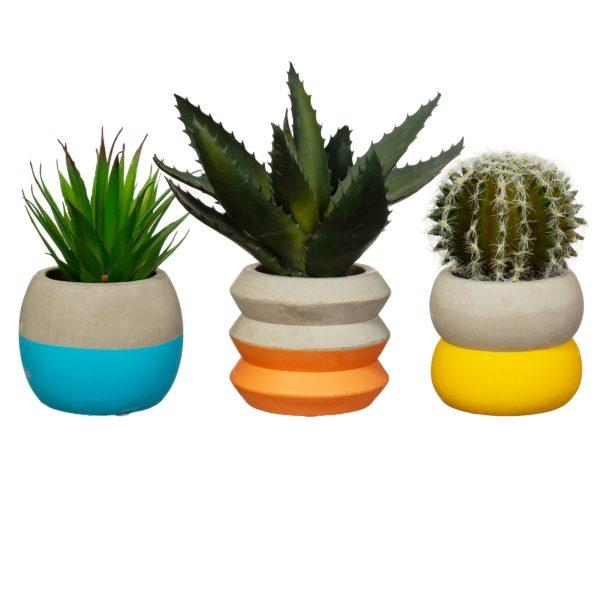 Large Colour Block Cement Planter - Blue