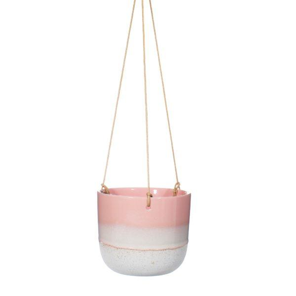 Mojave Dip Glaze Ombre Pink Hanging Planter