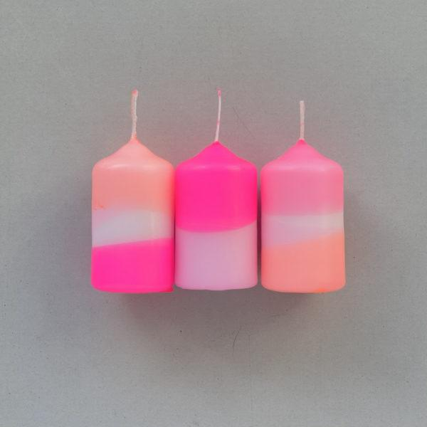 Dip Dye Neon Pillar Candles - Rainbow Drops