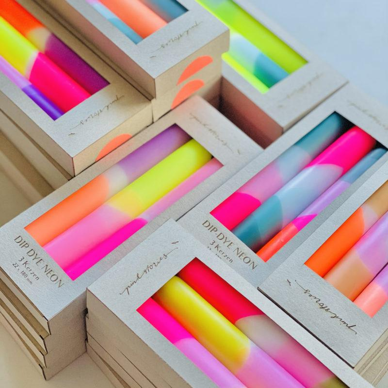 Dip Dye Neon Dinner Candles - Pink Infusion