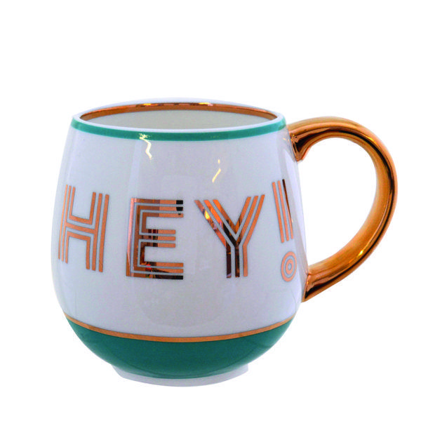 Hey! Fine China Mug - Teal
