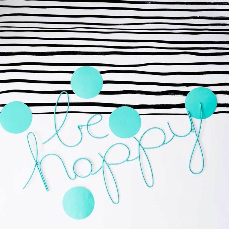 Be Happy Wire Word Wall Sign - Turquoise