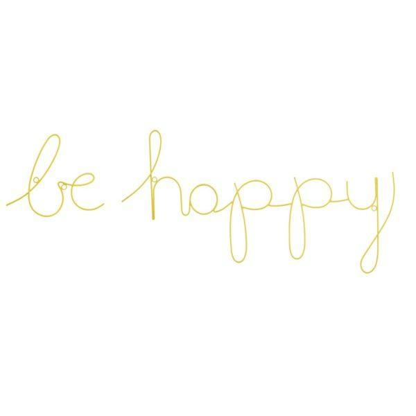 Be Happy Wire Word Wall Sign - Yellow