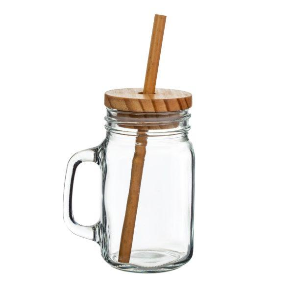 Glass Mason Jar with Bamboo Lid & Straw