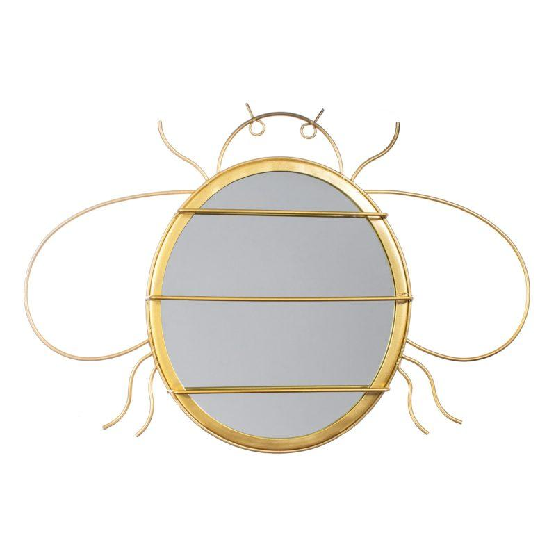 Gold Bee Wall Mirror & Jewellery Hanger
