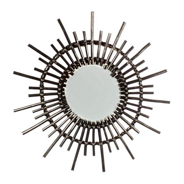 Black Rattan Starburst Mirror