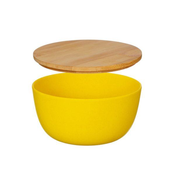 Yellow Bamboo Bowl with Lid