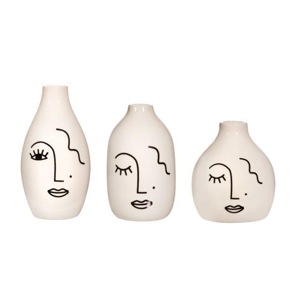 Abstract Face Set of 3 Vases