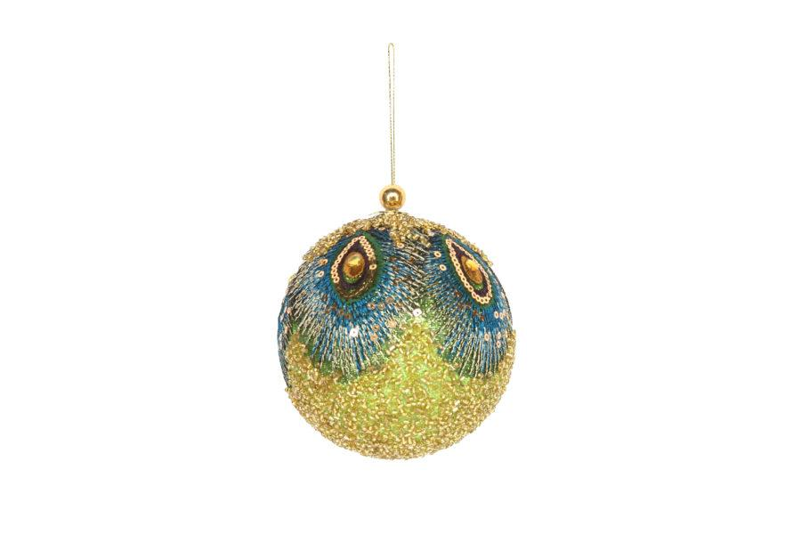 Large Sequin Peacock Christmas Bauble