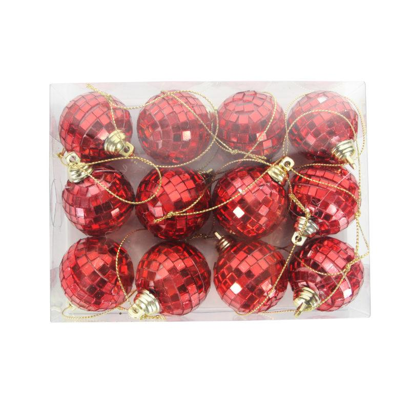 Red Mirror Ball Mini set of 12 Baubles