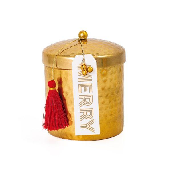 Gold Hammered Pot Gift Scented Candle - Merry