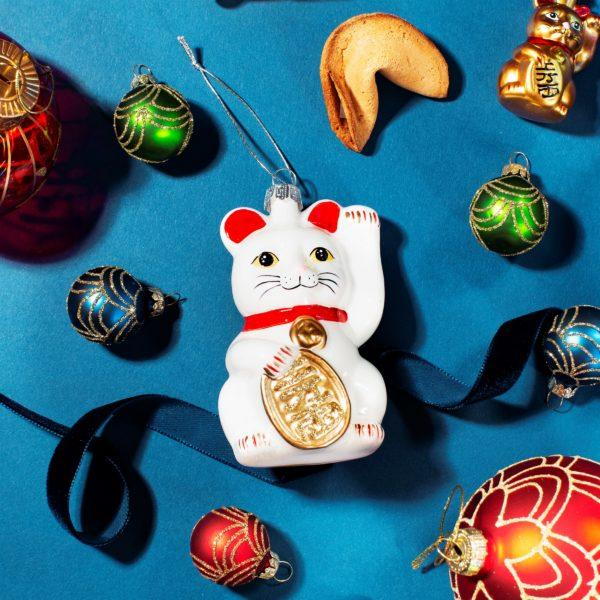 Lucky Cat Mini Set of 4 Christmas Decorations