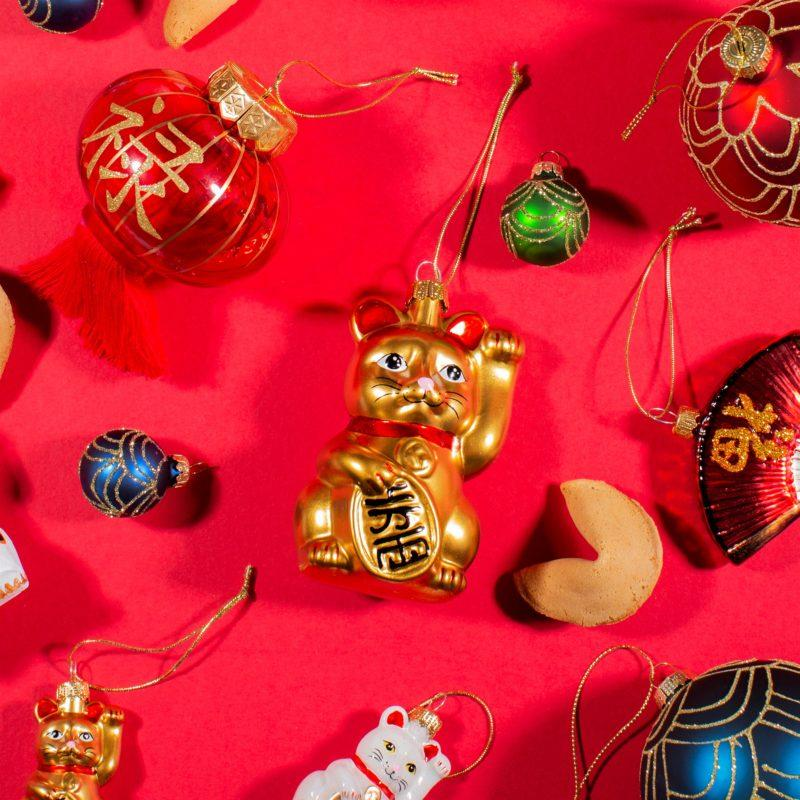 Gold Lucky Cat Christmas Decoration