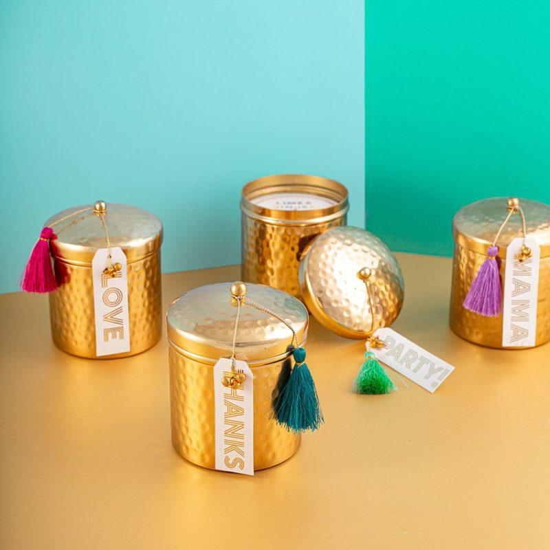 Gold Hammered Pot Gift Scented Candle - Mama