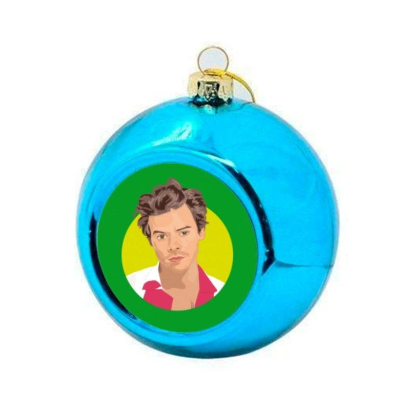 Harry Styles Christmas Bauble -Blue