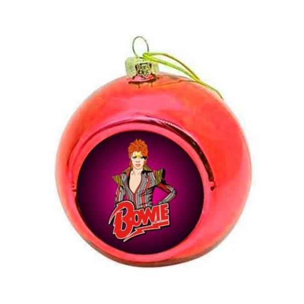 Bowie Stardust Christmas Bauble - Red