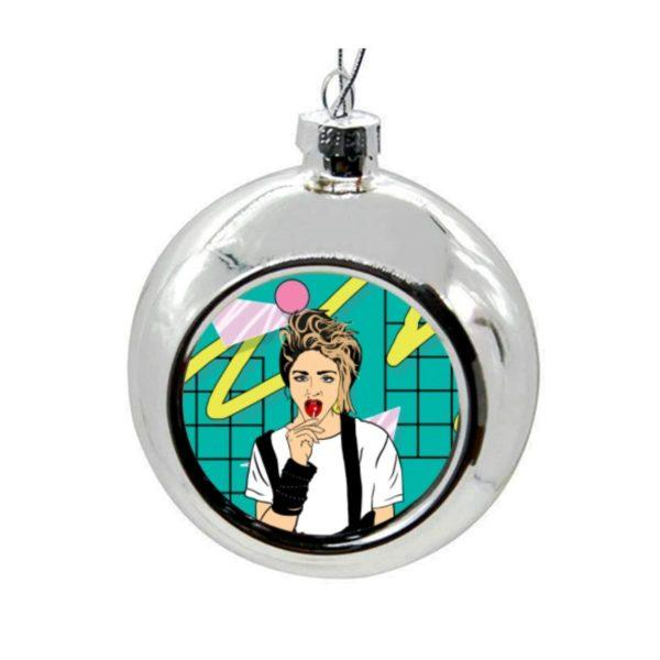 Madonna Get Into the Groove Christmas Bauble - Silver