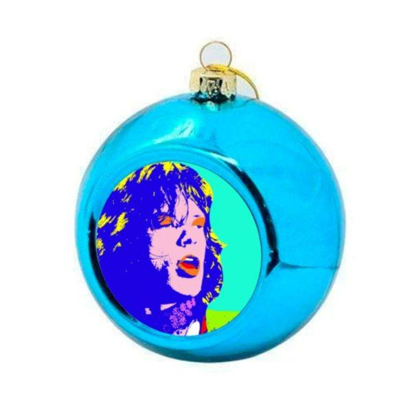 Mick Jagger Christmas Bauble - Blue