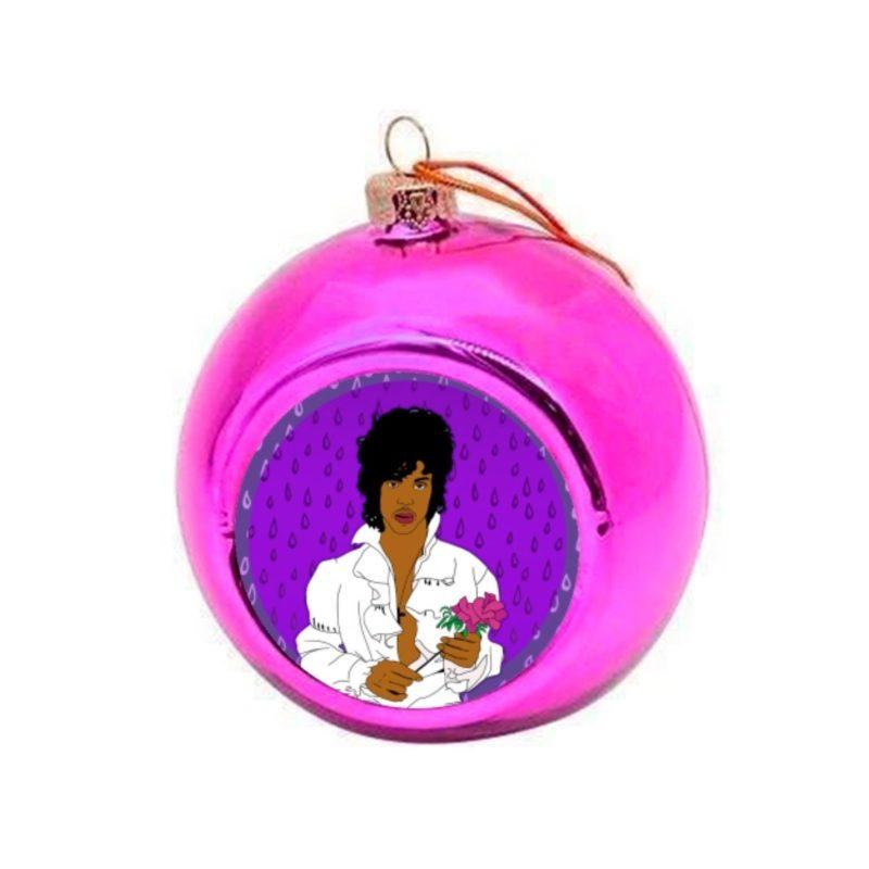 Prince with a Rose Christmas Bauble - Pink