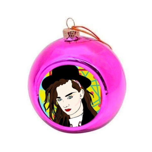 Boy George Christmas Bauble - Pink