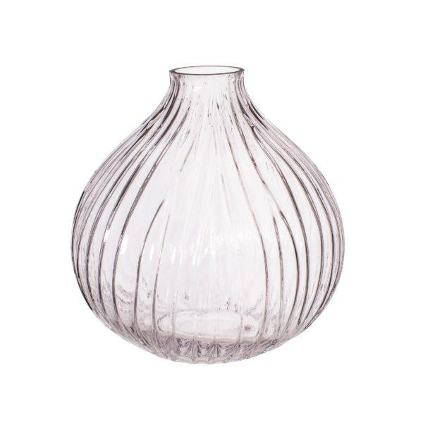 Round Fluted Glass Vase - Clear