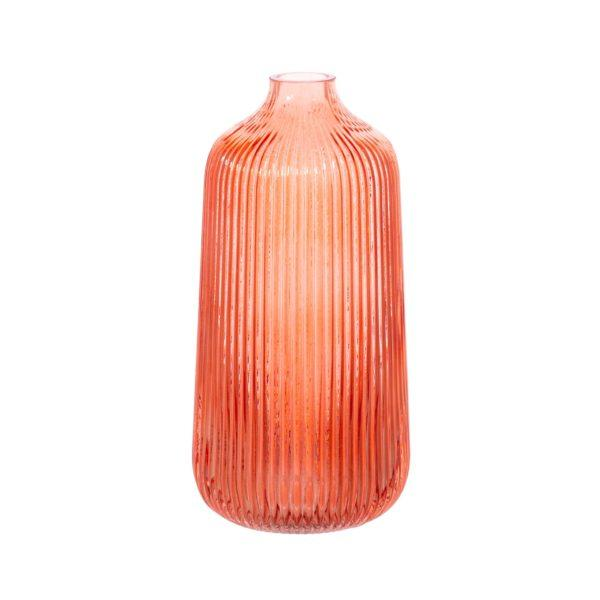 Tall Fluted Glass Vase - Amber