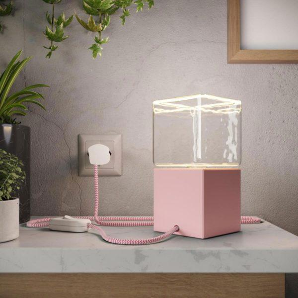 Cube Table Lamp - Pink