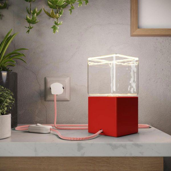 Cube Table Lamp - Red